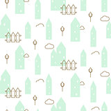 Pastel mint houses baby fabric seamless vector pattern.