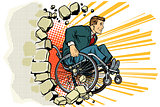 Businessman in a wheelchair. Disabilities and health