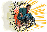 African Businessman in a wheelchair. Disabilities and health