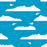 Seamless pattern with white paper airplanes and clouds