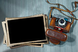 Old Camera and Blank Photo Frames