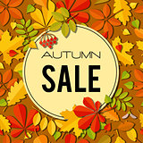 Sale banner with bright autumn leaves.