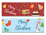Merry Christmas set of banners, template with space for text for your design. Winter holiday collection long board, poster, flyer. Flat style. Vector illustration.