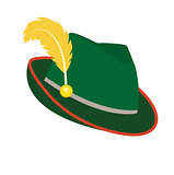 Oktoberfest hat icon flat style. Isolated on white background. Green national German hat. Vector illustration.