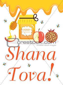 Greeting card for the Jewish New Year Rosh Hashanah, Shana Tova. Honey and apples, pomegranates. Vector illustration.
