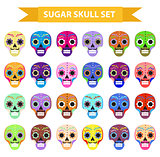 Day of the dead holiday in mexico icons set with sugar skulls. Flat style. Skeleton collection. Dia de Muertos concept. Vector illustration.