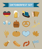 Oktoberfest icon set, flat or cartoon style. October fest in germany collection of traditional symbols, design elements with beer, food, cap. Isolated on white background. Vector illustration.