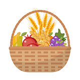 Vegetables and fruit in a wicker basket icon of a flat style. Isolated on white background. Vector illustration