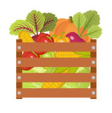 Vegetables in a wooden box icon
