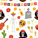 Day of the dead holiday in Mexico seamless pattern with sugar skulls. Skeleton endless background. Dia de Muertos repeating texture. Vector illustration.