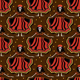 Dia de los muertos Calavera Katrina seamless pattern. Day of the dead with dead girl endless background. Repeating texture. Vector illustration.