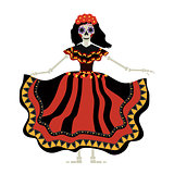 Dia de los muertos Calavera Katrina icon. Day of the dead with a dead girl. Isolated on white background. Vector illustration.