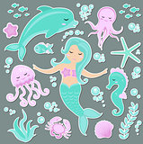 Cute trendy set of stickers emoji, patches badges Little Mermaid and the underwater world. Fairytale princess mermaid and dolphin, octopus, fish, jellyfish. Vector illustration.
