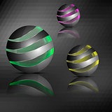 Spheres with transparent stripes