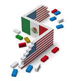 Building toy blocks wall arising 3D