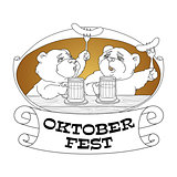 Oktoberfest card. Bears in friendly conversation over a beer.