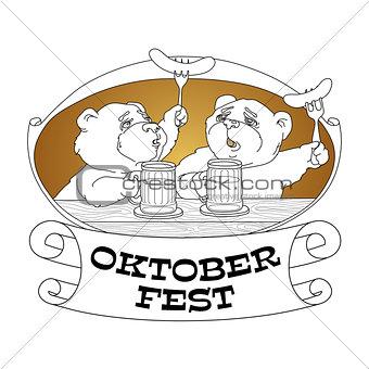 Oktoberfest card. Bears in friendly conversation over a beer.
