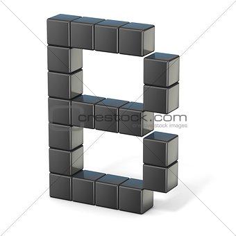 8 bit font. Capital letter B. 3D