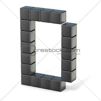 8 bit font. Capital letter D. 3D