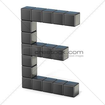 8 bit font. Capital letter E. 3D