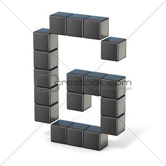 8 bit font. Capital letter G. 3D