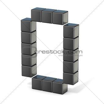 8 bit font. Capital letter O. 3D