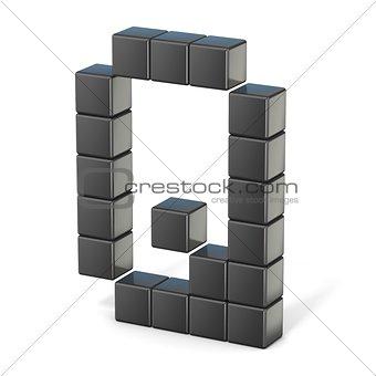 8 bit font. Capital letter Q. 3D