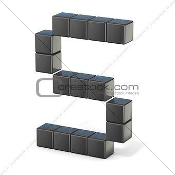 8 bit font. Capital letter S. 3D