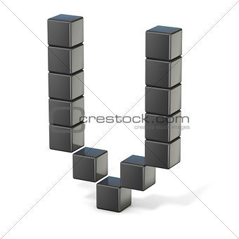 8 bit font. Capital letter V. 3D