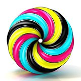 CMYK abstract circular sign, with shine edges