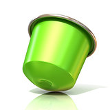 Green coffee capsule. 3D