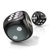 Two black game dices. 3D