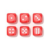 Set of red game dices, all numbers. Top view. 3D