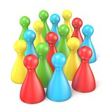 Colorful playing figures in crowd. 3D