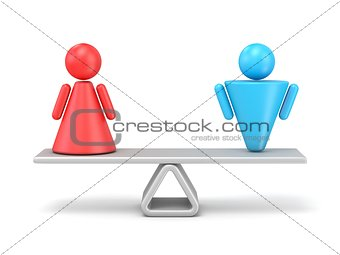 Abstract concept of gender equality. 3D