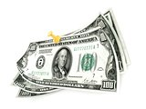 Pinned one hundred dollar bills on white background. 3D