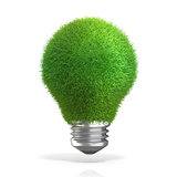 Concept of green energy. Grass on light bulb. 3D