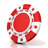 Red gambling chip. 3D