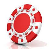 Red gambling chip. 3D