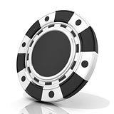 Black gambling chip. 3D