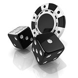Black gambling chips and dices. 3D