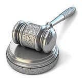 Steel gavel and soundboard on white background. Law concept. 3D