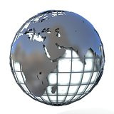 Polygonal style illustration of earth globe, Europe and Africa v