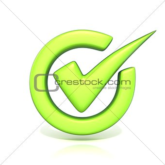 Green correct check mark in circle. 3D