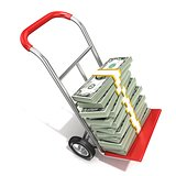 Hand truck with stacks of hundreds dollars isolated on white bac