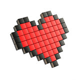 Red pixel heart. 3D