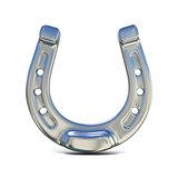 Silver horseshoe. 3D
