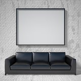 Mock up poster, black leather sofa. 3D