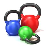 Red, green and blue kettle bells weights isolated on a white bac