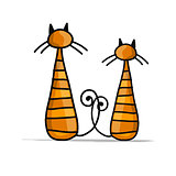 Cute striped cats, sketch for your design
